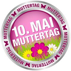 "Button Blumen ""10. Mai Muttertag"" pink/silber"