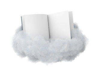 Book on a cloud isolated on white.