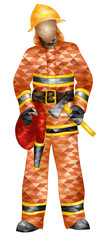 fireman with hose and ax geometric pattern triangle