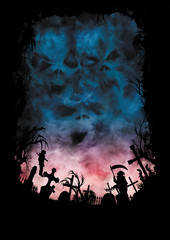 Horror background with skies like a skulls and a cemetery