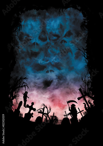 Horror background with skies like a skulls and a cemetery - 82302039