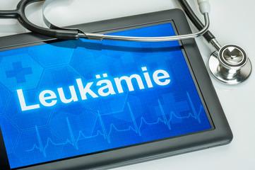 Tablet mit der Diagnose Leukämie auf dem Display