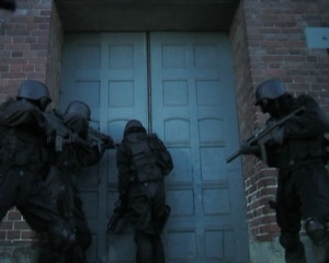 Special Forces walking through a building