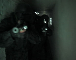 Special Forces walking through a Tunnel