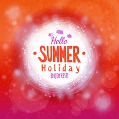 Hello hot summer holidays drawing card