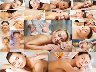 women having facial or body massage in spa salon