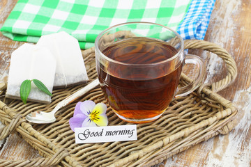 Good morning card with cup of tea on wicker tray