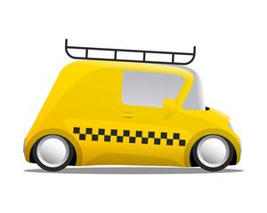 mini car cartoon yellow taxi