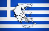 Greece Map On Greek Flag
