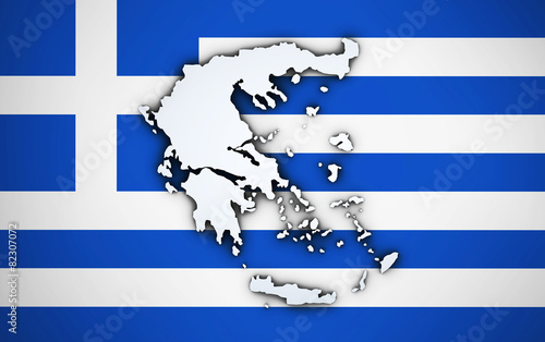 Staande foto Athene Greece Map On Greek Flag
