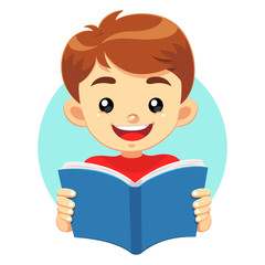 Little Boy Reading A Blue Book and study educational books.