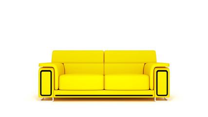 Новый желтый диван на белом фоне