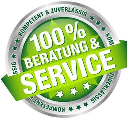 """Button Banner """"100% Beratung & Service"""" grün/silber"""