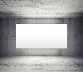 Empty room with concrete walls and illuminated wide white screen