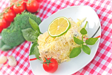 Delicious meal -  cold salad (Mimosa salad)