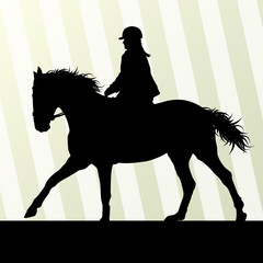 Horse riding vector background freedom