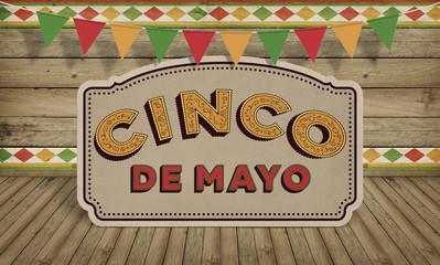 Cinco de Mayo, USA Mexikanischer Feiertag, Holz mit Text