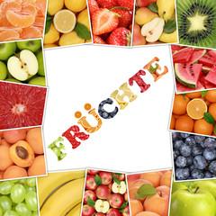 Rahmen aus Frucht mit Wort Früchte und Obst wie Apfel, Erdbeere