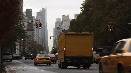 T/L WS Traffic on street, Manhattan, New York City, New York, USA