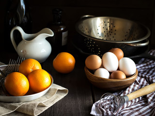 Still life with oranges. Style rustic.