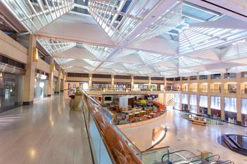modern shopping mall interior at entrance hall