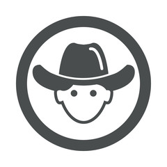 Icono redondo cowboy gris