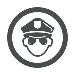 Icono redondo policia gris