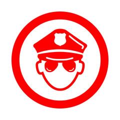 Icono redondo policia rojo