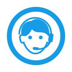 Icono redondo teleoperador azul