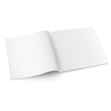 Blank square magazine template with soft shadows.