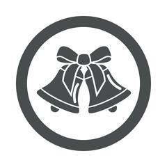 Icono redondo campanas de navidad gris