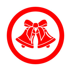 Icono redondo campanas de navidad rojo