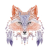 Tattoo, portrait of a wild fox - 82314606