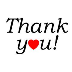Icono texto Thank you! con corazon