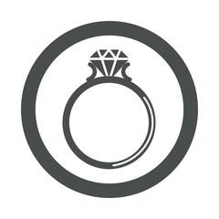 Icono redondo anillo con diamante gris