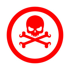 Icono redondo craneo con tibias rojo