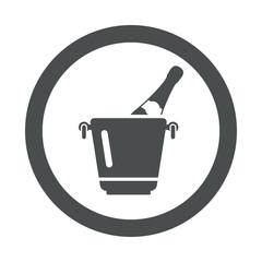 Icono redondo cubo de champan gris