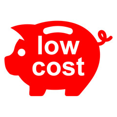 Icono texto low cost en hucha cerdito