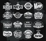 Retro chalkboard label design set
