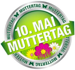 "Button Banner Blumen ""10. Mai Muttertag"" grün/silber"
