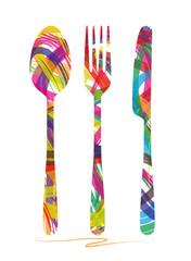 illustrazione astratta di coltello,forchetta e cucchiaio