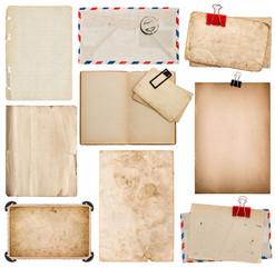 Set of old paper sheets, book, envelope, photo frame with corner