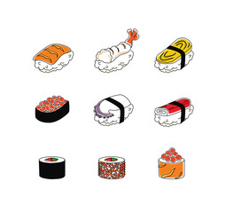 Vector set of mix sushi icon