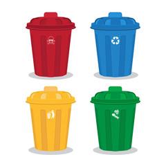 many color wheelie bins set,waste management concept