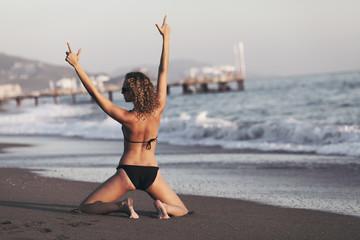 Happy woman in bikini, on beach. Resort, vacation