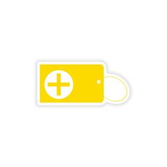 icon sticker realistic design on paper keychain
