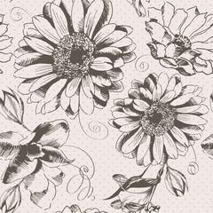 Vintage hand drawn flower pattern