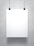 white poster on brick wall - 82321010