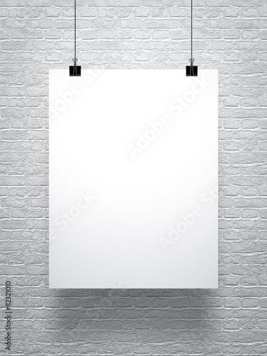 Zdjęcia na płótnie, fototapety, obrazy : white poster on brick wall