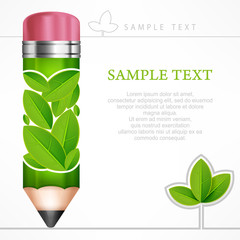 Green leaves pencil on white end text, vector illustration